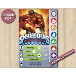 Skylanders Editable Invitation With Back 5x7   KaBoom   Instant Download