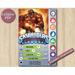 Skylanders Editable Invitation With Back 5x7 | KaBoom