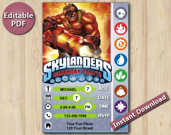 Skylanders Editable Invitation 4x6 | KaBoom | Instant Download