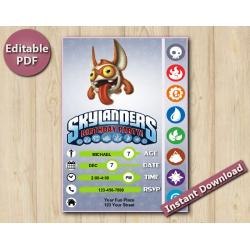 Skylanders Editable Invitation 5x7 | TriggerSnappy