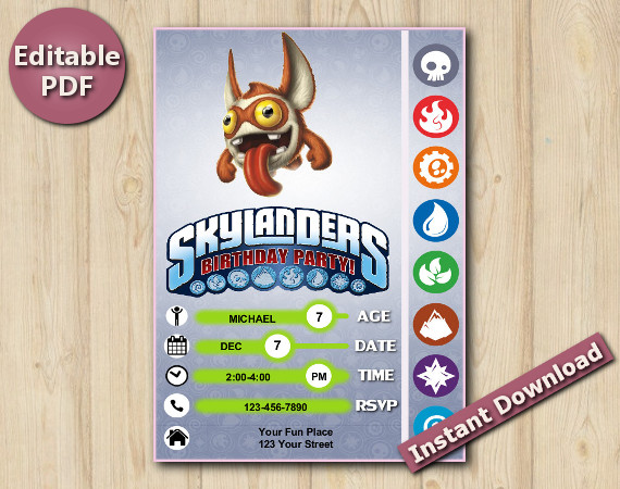 Skylanders Editable Invitation With Back 5x7 | TriggerSnappy | Instant Download