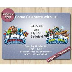 Twin Skylanders Editable Invitation 4x6