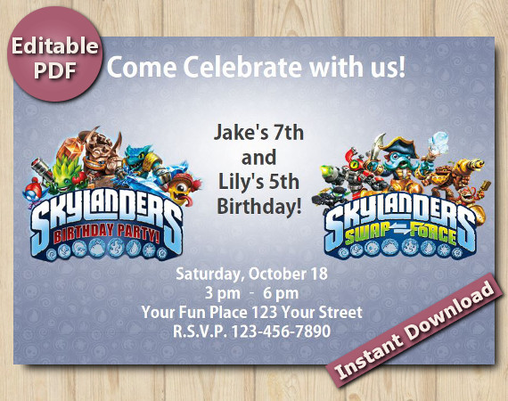 Twin Skylanders Editable Invitation 4x6 | Instant Download