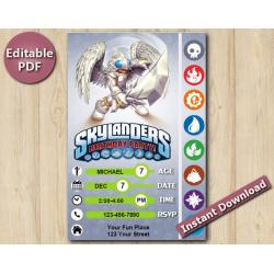 Skylanders Editable Invitation With Back 4x6 | KnightLight