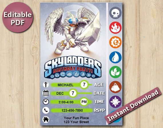 Skylanders Editable Invitation With Back 4x6 | KnightLight | Instant Download