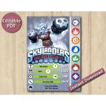 Skylanders Editable Invitation With Back 5x7 | NightShift | Instant Download