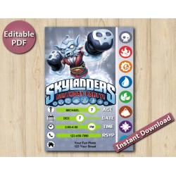 Skylanders Editable Invitation With Back 5x7 | NightShift