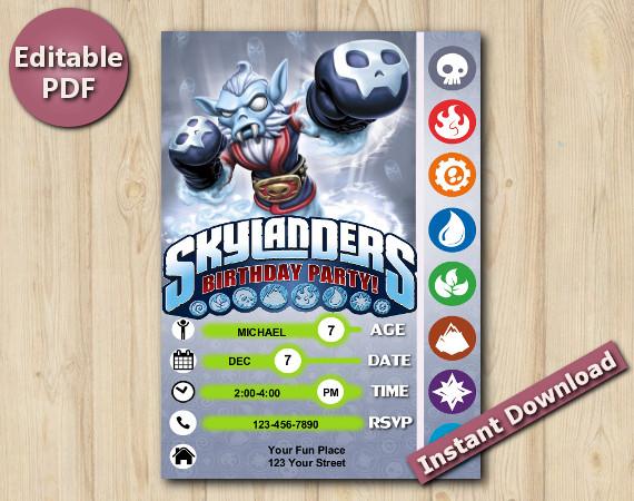 Skylanders Editable Invitation 5x7 | NightShift | Instant Download