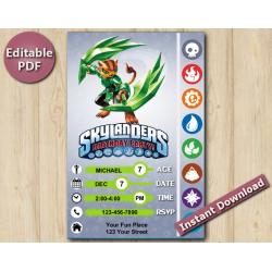 Skylanders Editable Invitation With Back 5x7 | TuffLuck
