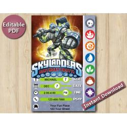 Skylanders Editable Invitation With Back 5x7 | Crucher
