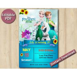 Frozen Fever Editable Invitation with Back 4x6""