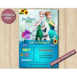 """Frozen Fever Editable Invitation 5x7"""""""