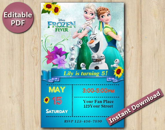 "Frozen Fever Editable Invitation 5x7"" | Instant Download"