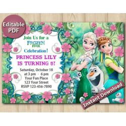 Frozen Fever Editable Invitation 4x6