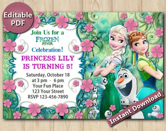 Frozen Fever Editable Invitation 4x6 | Instant Download