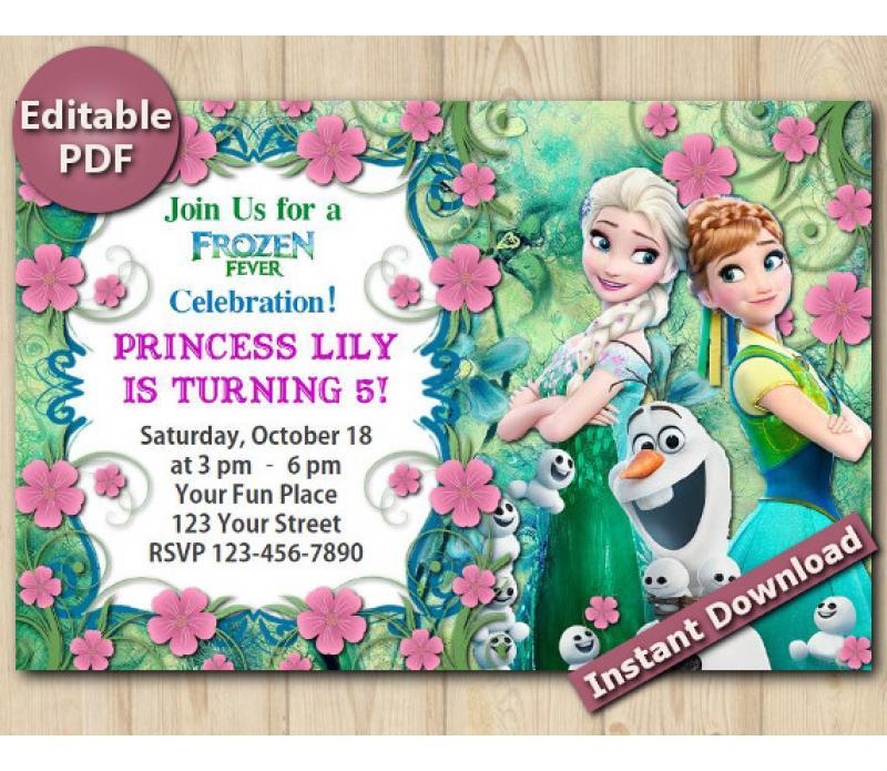 Frozen Fever Editable Invitation 4x6 Instant Download