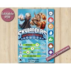 Skylanders Editable Invitation 4x6 | Kaos, Wallop