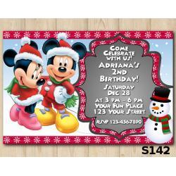 Christmas Minnie-Mickey invitation