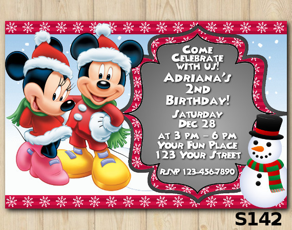 Christmas Minnie-Mickey invitation | Personalized Digital Card