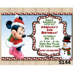 Christmas Minnie invitation