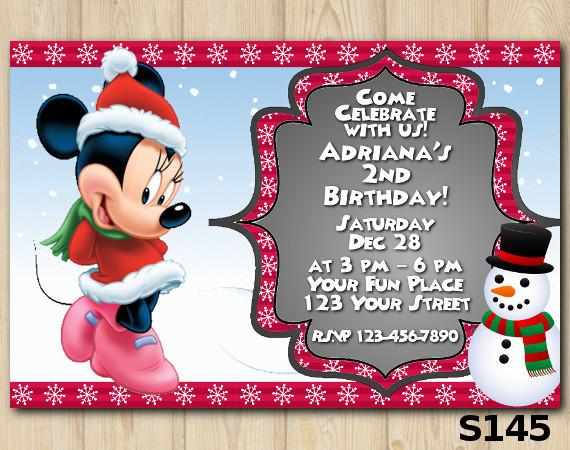 Christmas Minnie invitation | Personalized Digital Card