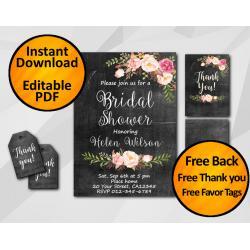 Watercolor Chalkboard Bridal Shower Invitation Set