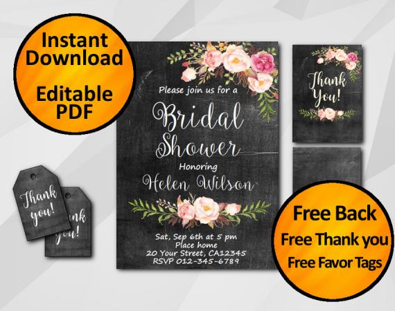 Instant Download Watercolor Chalkboard Bridal Shower Invitation Set