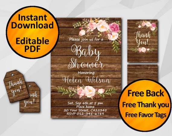 Instant Download Watercolor Wood Baby Shower Invitation Set