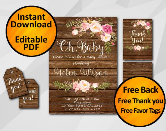 """Editable Watercolor Wood Baby Shower Invitation Set """"Oh, Baby"""""""