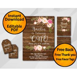 Watercolor Wood Birthday Invitation Set