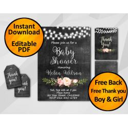 String Lights Chalkboard Baby Shower Invitation Set
