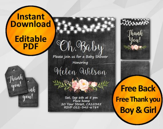 "Editable String Lights Chalkboard Baby Shower Invitation Set ""Oh, Baby"""