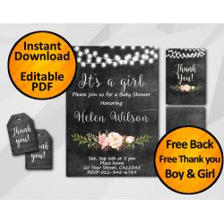 Its a Girl Baby Shower Invitation Set