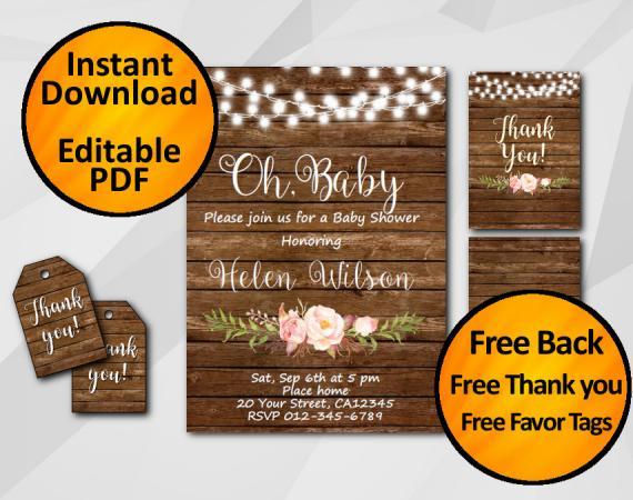 "Editable String Lights Wood Baby Shower Invitation Set ""Oh, Baby"""