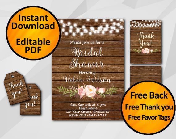 Instant Download String Lights Wood Bridal Shower Invitation Set