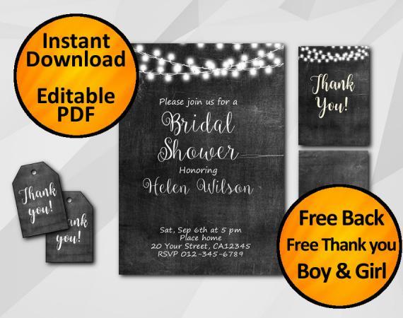 Instant Download String Lights Chalkboard Bridal Shower Invitation Set