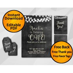 String Lights Chalkboard Birthday Invitation Set
