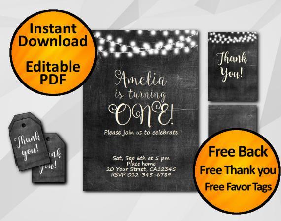 Instant Download String Lights Chalkboard Birthday Invitation Set