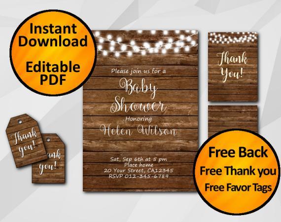 Instant Download String Lights Wood Baby Shower Invitation Set