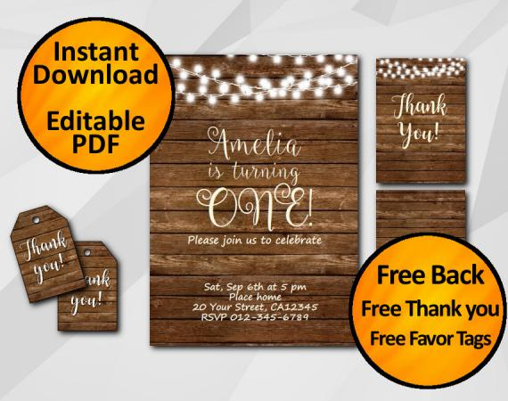 Instant Download String Lights Wood Birthday Invitation Set