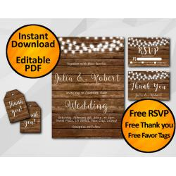 String Lights Wood Wedding Invitation Set