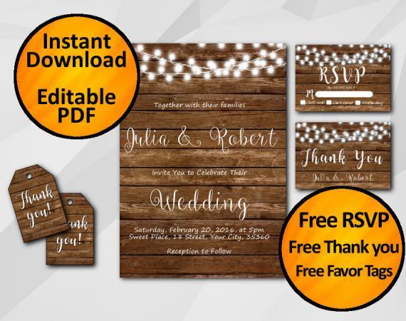 Instant Download String Lights Wood Wedding Invitation Set