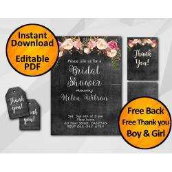 Watercolor Chalkboard Bridal Shower Invitation Set