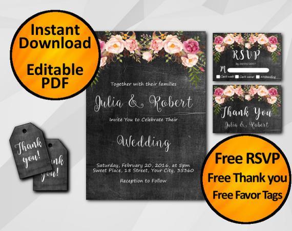 Instant Download Watercolor Chalkboard Wedding Invitation Set