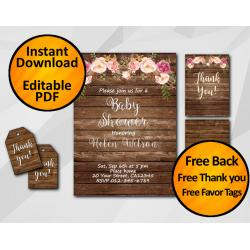 Watercolor Wood Baby Shower Invitation Set