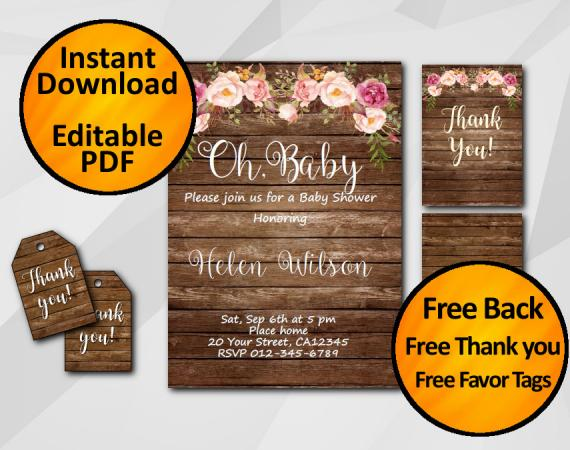 "Editable Watercolor Wood Baby Shower Invitation Set ""Oh, Baby"""