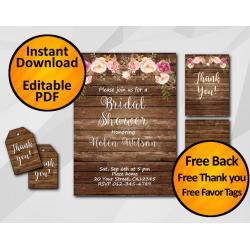 Watercolor Wood Bridal Shower Invitation Set