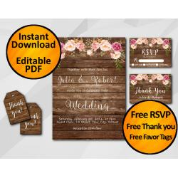 Watercolor Wood Wedding Invitation Set