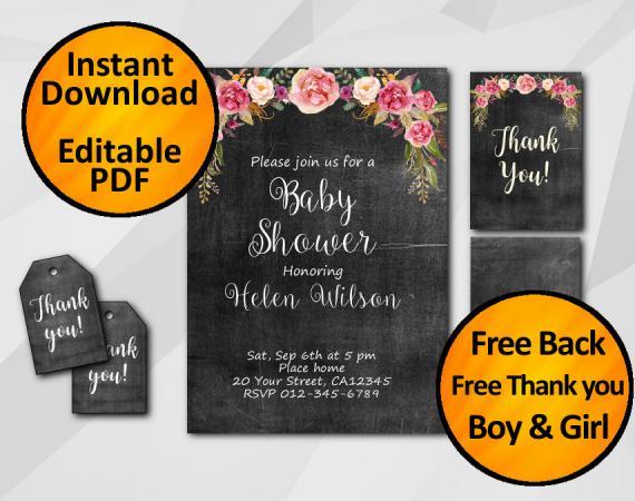 Instant Download Watercolor Chalkboard Baby Shower Invitation Set