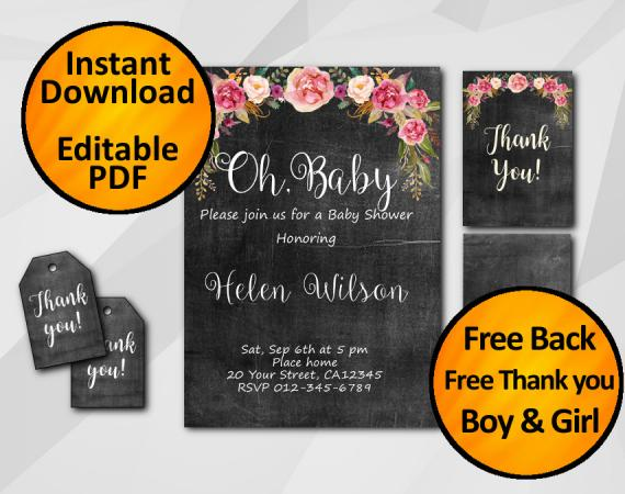 """Editable Watercolor Chalkboard Baby Shower Invitation Set """"Oh, Baby"""""""